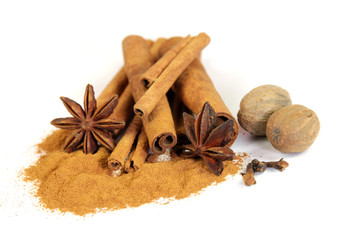 star anise and cinnamon isolated on white