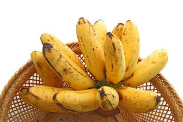 hand of bananas,tropical Thai fruit, in Basket