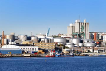 oil fuel tanks in the port