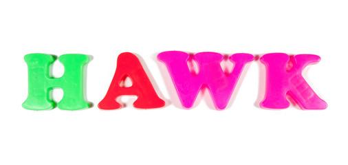 hawk written in fridge magnets