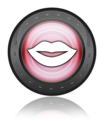 "Industrial Style Icon ""Mouth / Lips Symbol"""