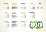 Horizontal color vector calendar for 2011 year