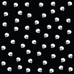 Halloween vector wallpaper with skulls on black