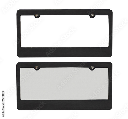 blank reflective license plate isolated on a white background