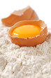 Broken egg with shells on flour, white backdrop