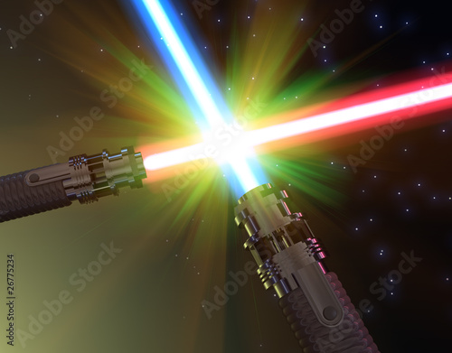 Leinwanddruck Bild Battle with light sabers
