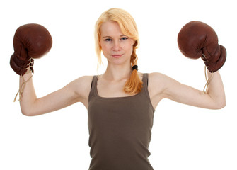 young woman wearing a pair of boxing gloves