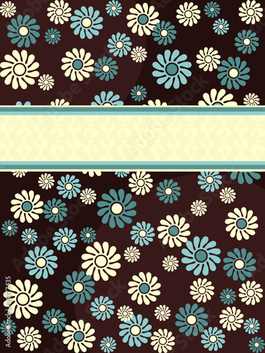 Brown vertical retro banner with blue flowers