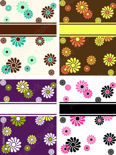 Collection of vertical retro banners with large flowers