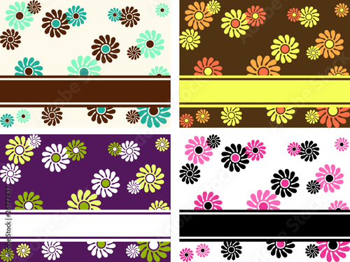 Collection of horizontal retro banners with large flowers
