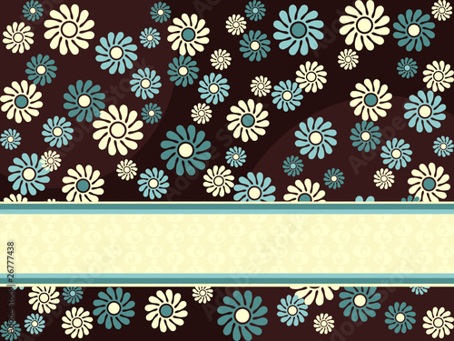 Brown horizontal retro banner with blue flowers