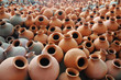 Many earthen pots kept for drying
