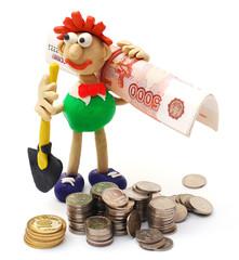 Человек с лопатой и деньгами. Лёгкая добыча денег.