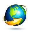Planète terre flèche jaune