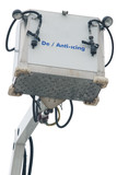 Hydraulic platform for anti icing with hoses on white poster