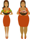 isolated illustration of thick and thin girls