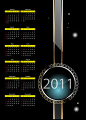 2011 calendar with abstract background.