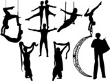 collection of circus artists silhouette - vector poster
