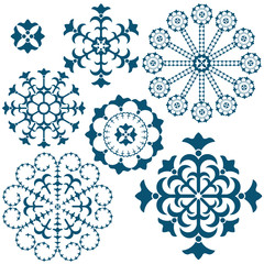 Set blue vintage snowflakes