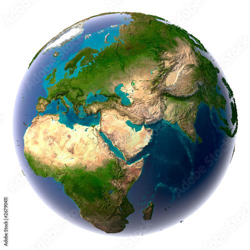 Realistischer Planet Erde mit natürlichem Wasser