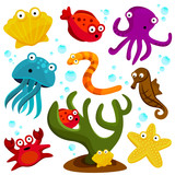 sea creatures cartton set vector