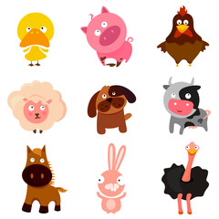 farm animal cartoon vector set