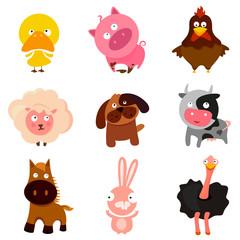 farm animal cartoon vector set