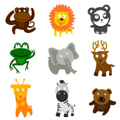 wild animal cartoon set vector