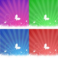 Butterflies over field - 4 color set