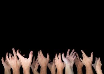 Bear hands reaching up in the dark