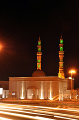 Mosque in the night in United Arab Emirates
