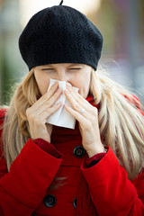 young woman has flu