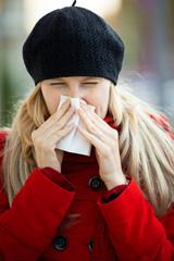 young woman has flu