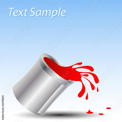 Paint can spill isolated with text space