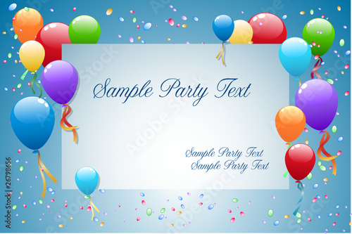 Party Balloons with card for text