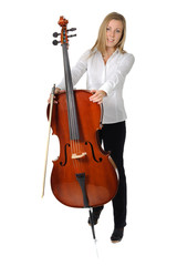 Young cellist standing on white background