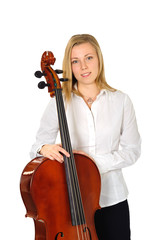 Portrait of young cellist on white background