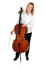 Young cellist standing on white background smileing