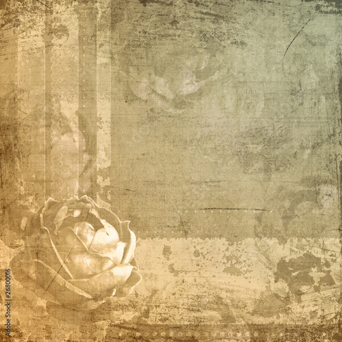 Retro design whith rose on aged paper © o_april