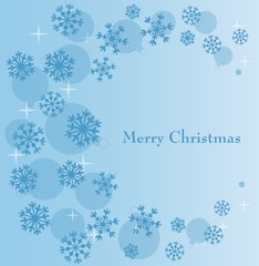 Blue festive background with scene snowflake and ball