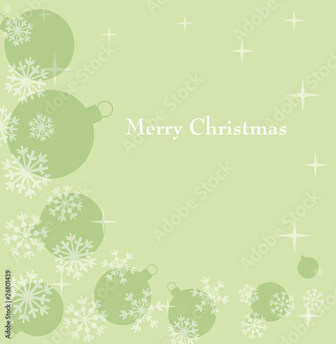 green festive background with snowflake and ball