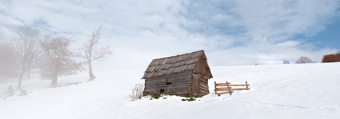 lonely barn in the winter