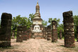 white buddha sukhothai thailand