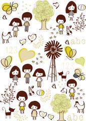 vector - children wallpaper