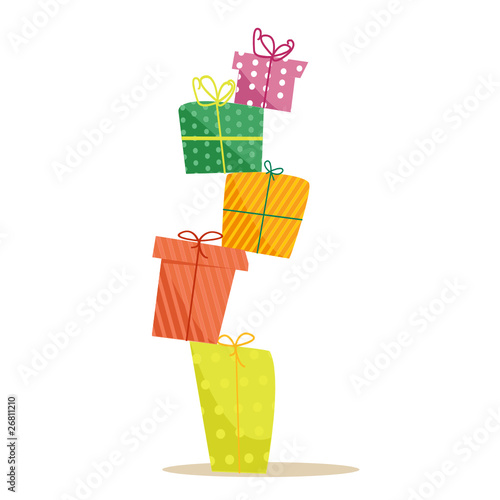 Colorful gifts, vector illustration