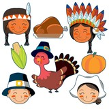 Thanksgiving Day faces and elements set