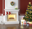 Traditional fireplace decorated for christmas