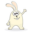 Cute little white rabbit. Vector illustration
