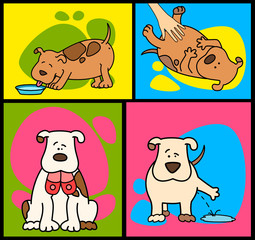 Set of cartoon dogs. Vector illustration.