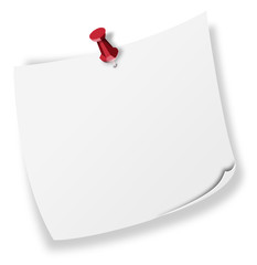 Nota blanca con chincheta roja
